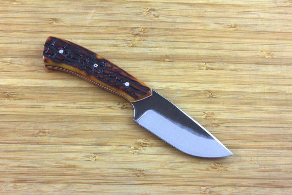 182mm 'Mini' Kajiki Knife, Forge Finish, Amber Jig Bone - 109grams