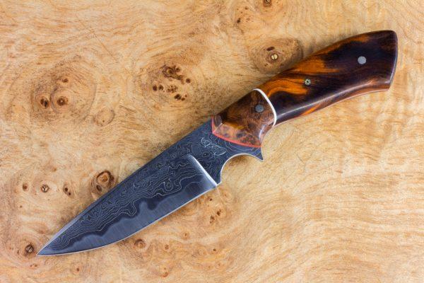 189mm Aviator Jr. Neck Knife, Damascus, Ironwood / Burl - #19