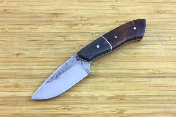 197mm Kajiki Knife, Hammer Finish, Carbon Fiber / Ironwood - 128grams