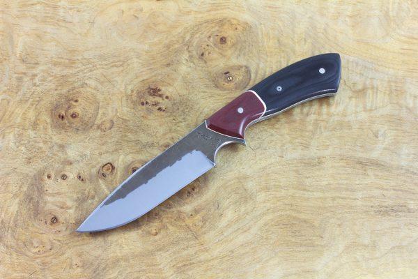 198mm Aviator Neck Knife, Hammer Finish, Red / Black Micarta - 100grams