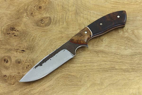197mm Aviator Neck Knife, Hammer Finish, Burl / Ironwood - 98grams
