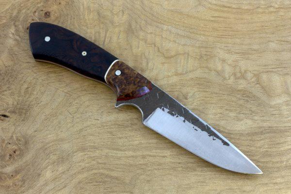 190mm Aviator Jr. Neck Knife, Hammer Finish, Burl / Desert Ironwood - 90grams