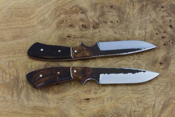 198mm Aviator Neck Knife, Hammer Finish, Burl / Ironwood - 99grams