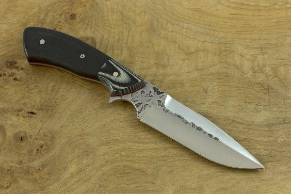 199mm Aviator Neck Knife, Dagger Grind, Polished Hammer Finish, G-10 / Micarta - 102grams