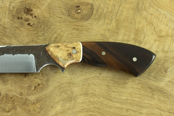 198mm Aviator Neck Knife, Hammer Finish, Birch / Ironwood - 103grams