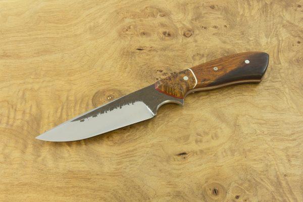 188mm Aviator Jr. Neck Knife, Hammer Finish, Burl / Desert Ironwood - 90grams