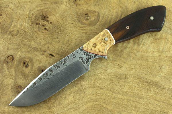 201mm Aviator Neck Knife, Polished Hammer Finish, Birch / Ironwood - 106grams
