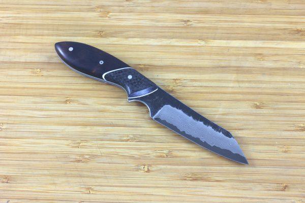 192mm Wharncliffe Brute Neck Knife, Damascus, Carbon Fiber / Ironwood - 94 grams