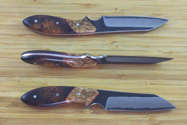 191mm Wharncliffe Brute Neck Knife, Damascus, Ironwood / Birch - 92grams