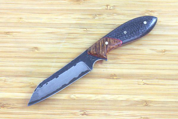 197mm Wharncliffe Brute Neck Knife, Damascus, Carbon Fiber / Burl - 99grams