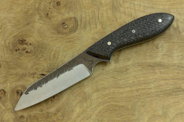 190mm Wharncliffe Brute Neck Knife, Hammer Finish, Carbon Fiber - 92grams