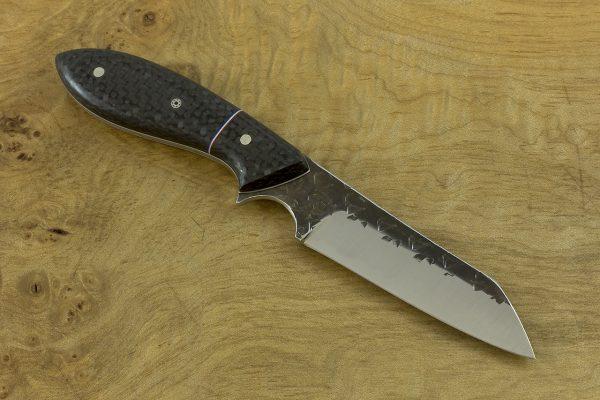 185mm Wharncliffe Brute Neck Knife, Hammer Finish, Carbon Fiber - 80grams