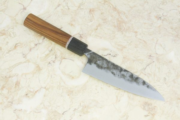 4.88 sun Kuro-uchi Series Funayuki, Blue Steel, Hardwood w/ Black Canvas Micarta Bolster - 113 grams