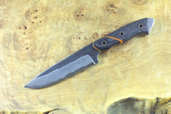 236mm FS1 Knife #31, Damascus, F10 Carbon Fiber w/ F40 Carbon Fiber Bolster - 141 grams