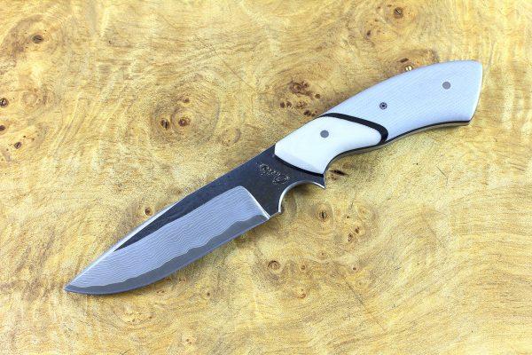 200mm Aviator Neck Knife, Damascus, Gray G10 w/ White G10 Bolster - 129 grams