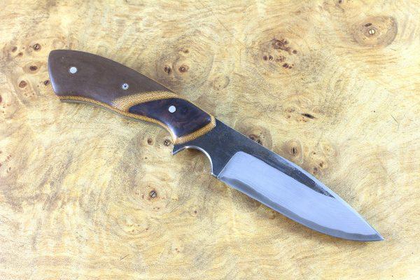 196mm Aviator Neck Knife, Damascus, Brown Paper Micarta w/ Ironwood Bolster - 105 grams