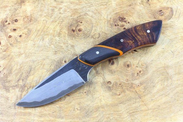 195mm Kajiki Neck Knife, Damascus, Ironwood w/ F40 Carbon Fiber Bolster - 127 grams