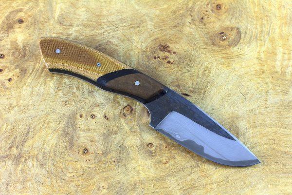 196mm Kajiki Neck Knife, Damascus, Natural Canvas Micarta with Brown Paper Micarta Bolster - 141 grams