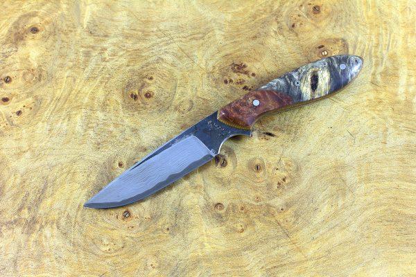 171mm Original Neck Knife, Damascus, Buckeye w/ Maple Burl Bolster - 64 grams