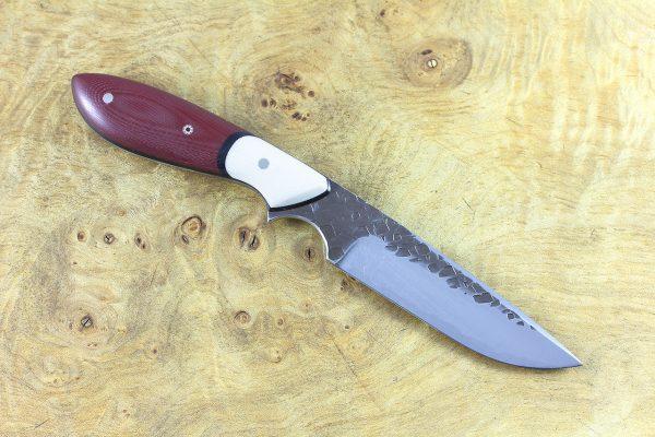 187mm Original [long] Neck Knife, Hammer Finish, Red G10 w/ White G10 Bolster - 85 grams