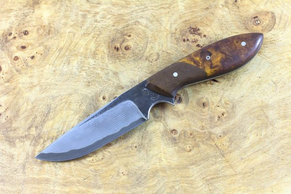 188mm Perfect Neck Knife, Damascus, Ironwood w/ Brown Paper Micarta Bolster - 99 grams