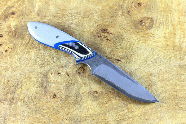 188mm Perfect Neck Knife, Damascus, Gray G10 w/ Black & White G10 Bolster - 106 grams