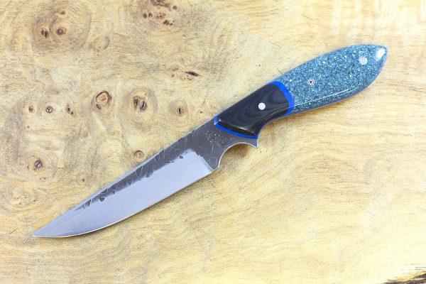 194mm Persian [large] Neck Knife, Hammer Finish, Corian w/ Black Linen Micarta Bolster - 85 grams