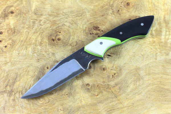 206mm Tactical Neck Knife, Damascus, Black Paper Micarta w/ Ivory Paper Micarta Bolster - 128 grams