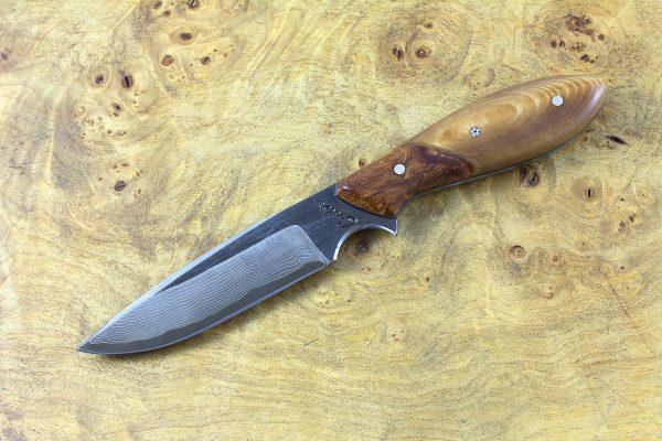 186mm Vex Clip Neck Knife, Damascus, Stabilized Hardwood w/ Amboyna Bolster - 90 grams