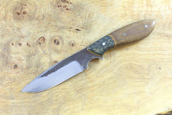 182mm Vex Clip Neck Knife, Hammer Finish, Brown Canvas Micarta w/ Shadetree Burlap Composite Bolster - 78 grams
