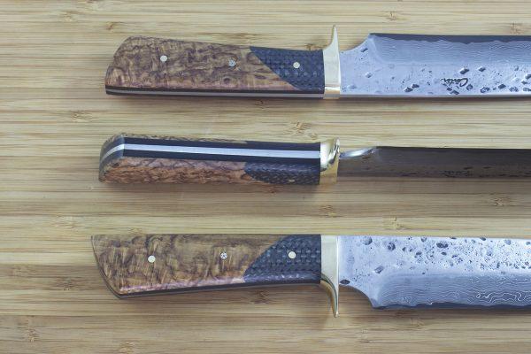 *LIMITED* 321mm Camp Knife, Polished Hammer / Damascus, Burl / Carbon Fiber - 307grams