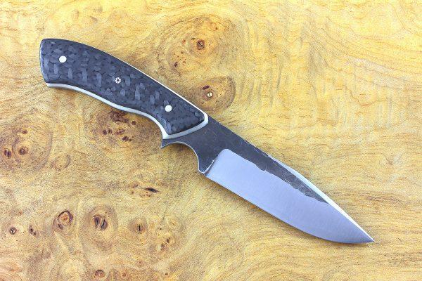 197mm Aviator Neck Knife, Hammer Finish, F10 Carbon Fiber - 99 grams