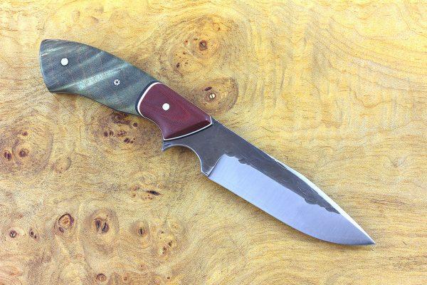 196mm Aviator Neck Knife, Hammer Finish, Dyed Green Maple Burl w/ Red Linen Micarta Bolster - 99 grams