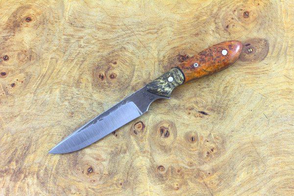 156mm Emily's Neck Knife, Hammer Finish, Dyed Orange Maple Burl w/ Buckeye Bolster - 44 grams
