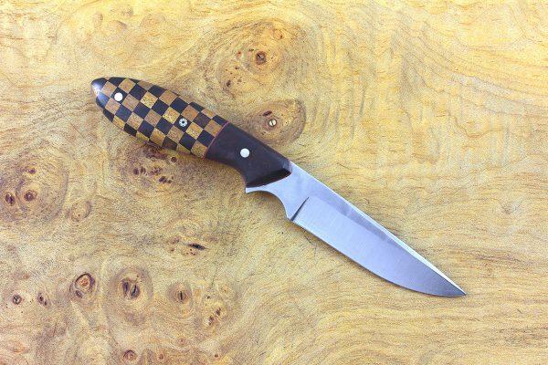 168mm Emily's Neck Knife, Forge Finish, Checkered Ironwood and Osage Orange w/ Ironwood Bolster - 55 grams
