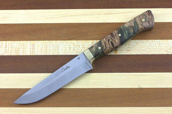 3.53 sun Stainless Fukugo-zai Paring (refurbished), High Grade Dyed Green Maple Burl - 91 grams