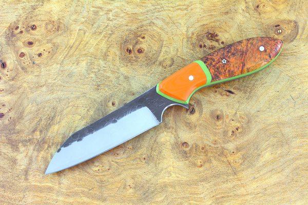 188mm Wharncliffe Brute Neck Knife, Hammer Finish, Dyed Orange Burl w/ Orange G10 Bolster - 98 grams