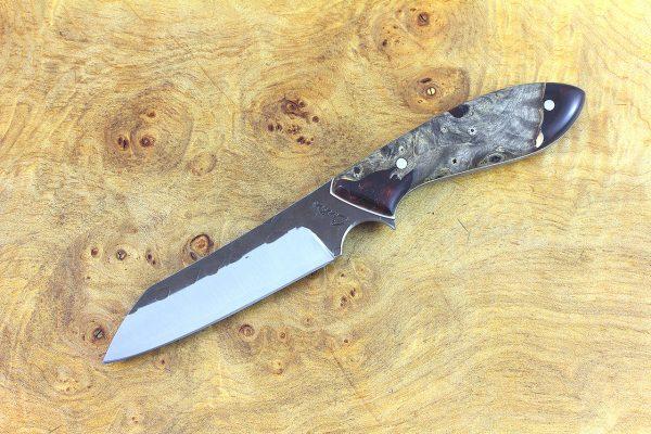 187mm Wharncliffe Brute Neck Knife, Hammer Finish, (BWP) ShokWood - 87 grams