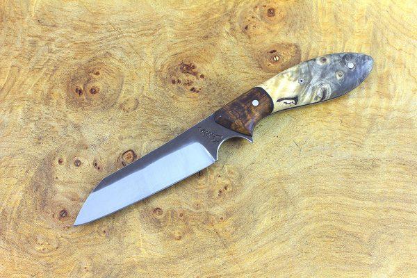 182mm Wharncliffe Brute Neck Knife, Forge Finish, Buckeye w/ Ironwood Bolster - 75 grams