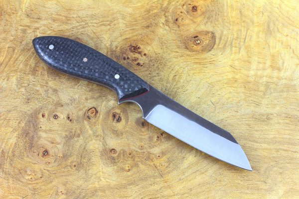189mm Wharncliffe Brute Neck Knife, Forge Finish, F10 Carbon Fiber - 93 grams