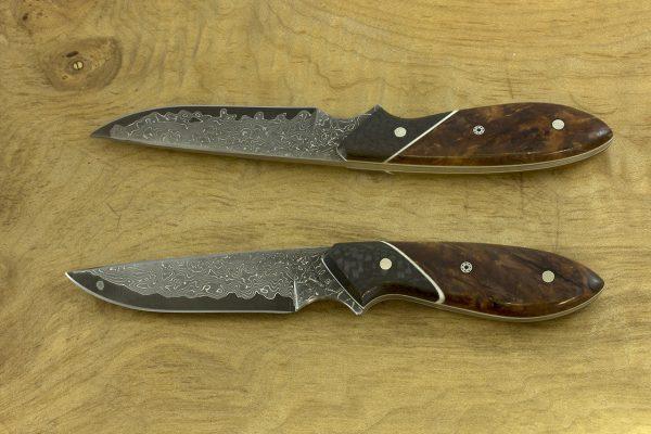 154mm Emily's Neck Knife, Damascus, Carbon Fiber / Burl - 51grams