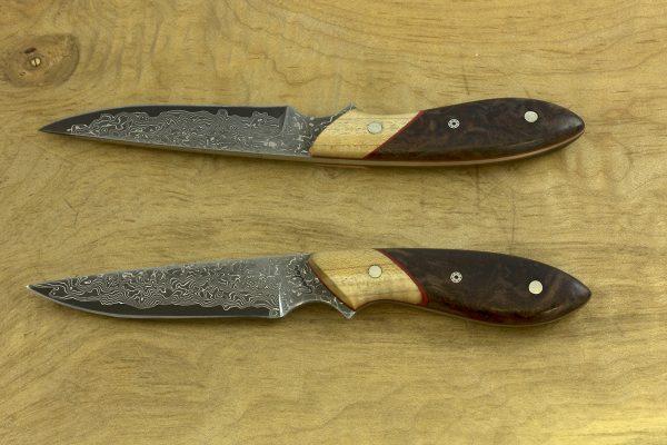 *SECOND* 161mm Emily's Neck Knife, Damascus, Maple / Burl - 48grams