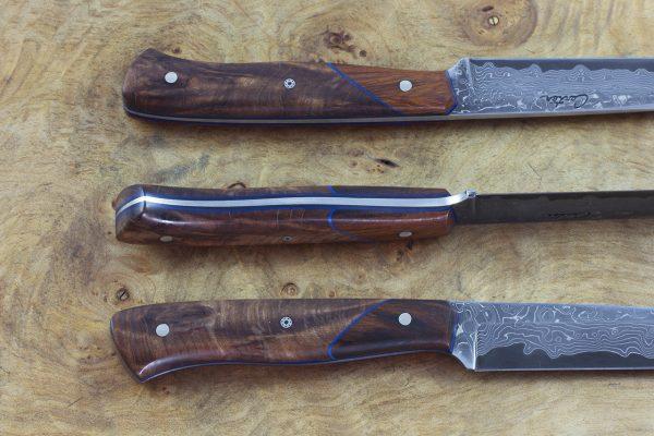 200mm Tactical Office Neck Knife, Damascus, Burl / Ironwood - 69grams