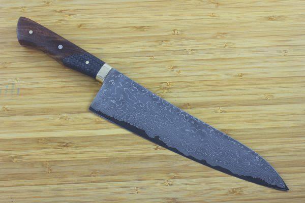 7.46 sun International Pro Freestyle Knife, Damascus, Hardwood / Carbon Fiber - 224grams