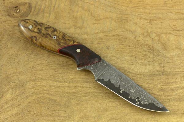 171mm Compact Original Neck Knife, Damascus, Ironwood / Birch - 62grams