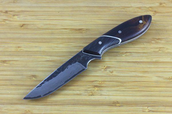 182mm Original Neck Knife, Damascus, Ironwood / Carbon Fiber - 82grams