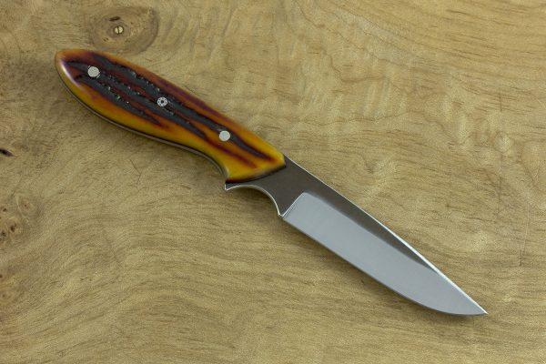 166mm Emily's Neck Knife, Forge Finish, Amber Jig Bone - 69grams