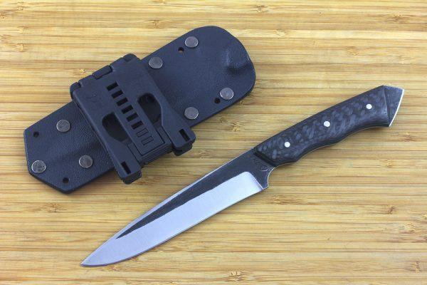 246mm FS Knife #6 with Striker Pommel, Super Blue Steel, Carbon Fiber - 120grams