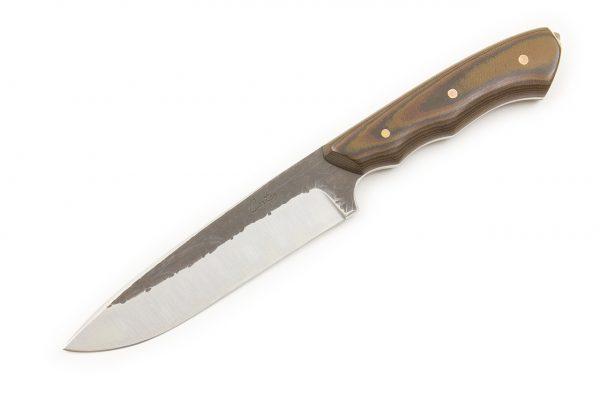 239 mm FS1 Knife #83, White Steel w/ Stainless, Camo Linen Micarta - 152 grams
