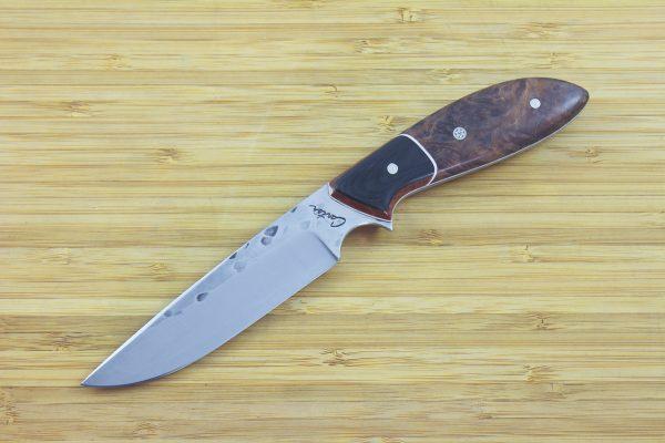 213mm Freestyle Neck Knife, Hammer Finish, Burl / Micarta - 103grams